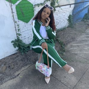 On The Go Track suit Luxury Black Label - Green and White