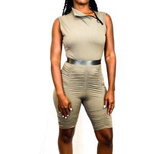 Ruche Bodysuit Sets - Olive - Luxury Black Label